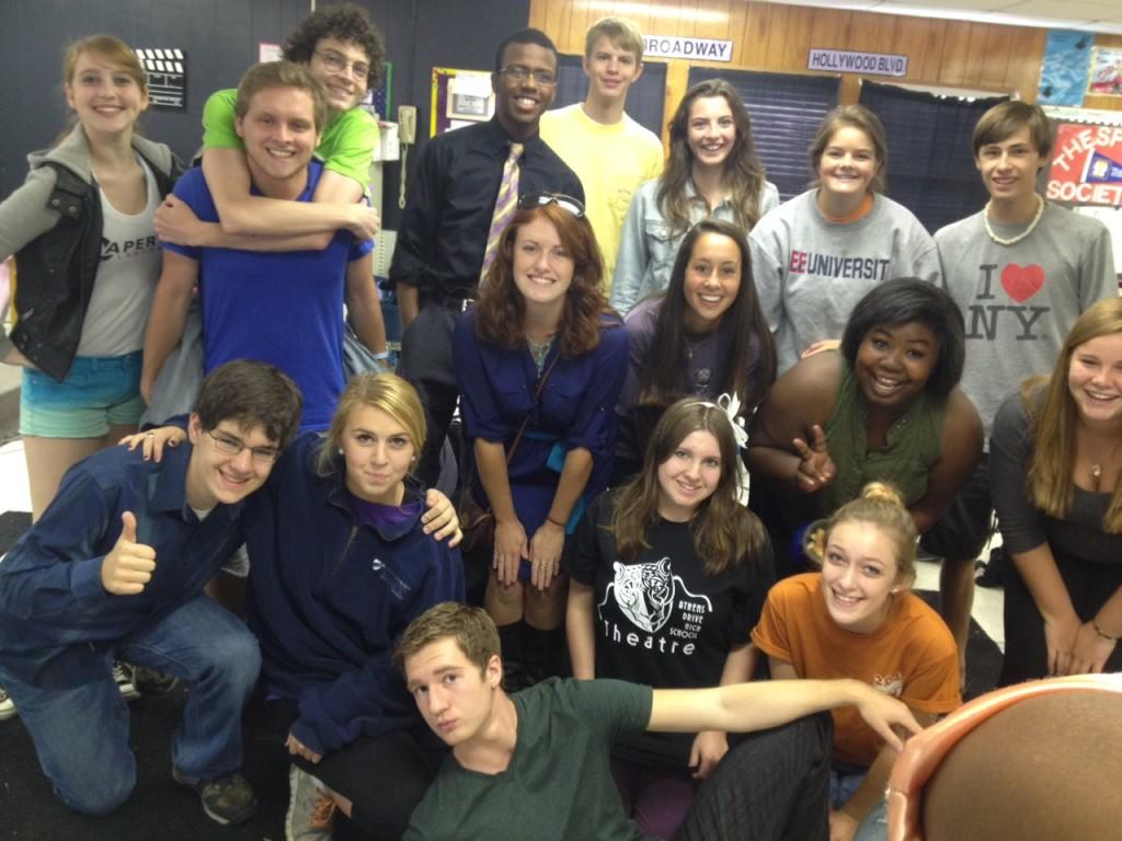 Members of Athens Drive High School Thespian Society in the theater trailer.