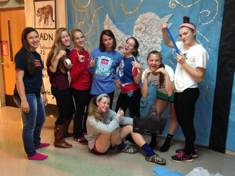 A group of student council members spending their Sunday decorating hallways for the 2013 spirit week.