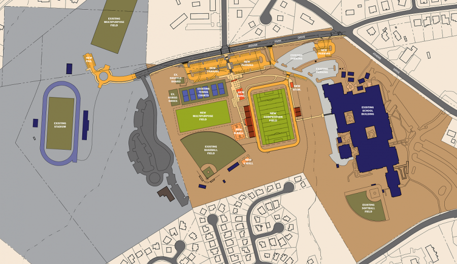A proposed map of the new Athens Drive stadium.