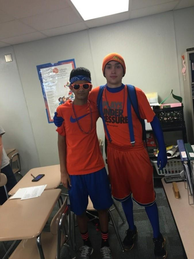 Students at Athens Drive dressed up for blue and orange day.