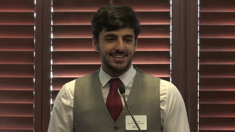 Ahmad Odeh, senior, speaks about his summer internship with the NCSU Biomechanical Engineering program at the 2017 Superintendent's Breakfast.