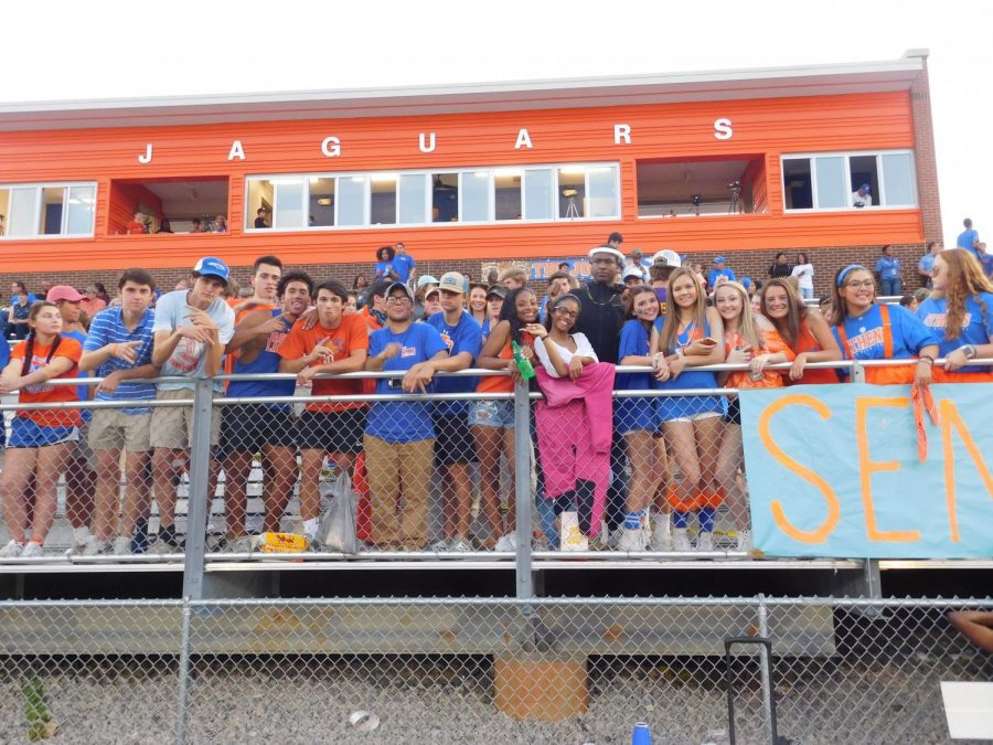 Athens Drive student fans at a homecoming game against Jordan.
