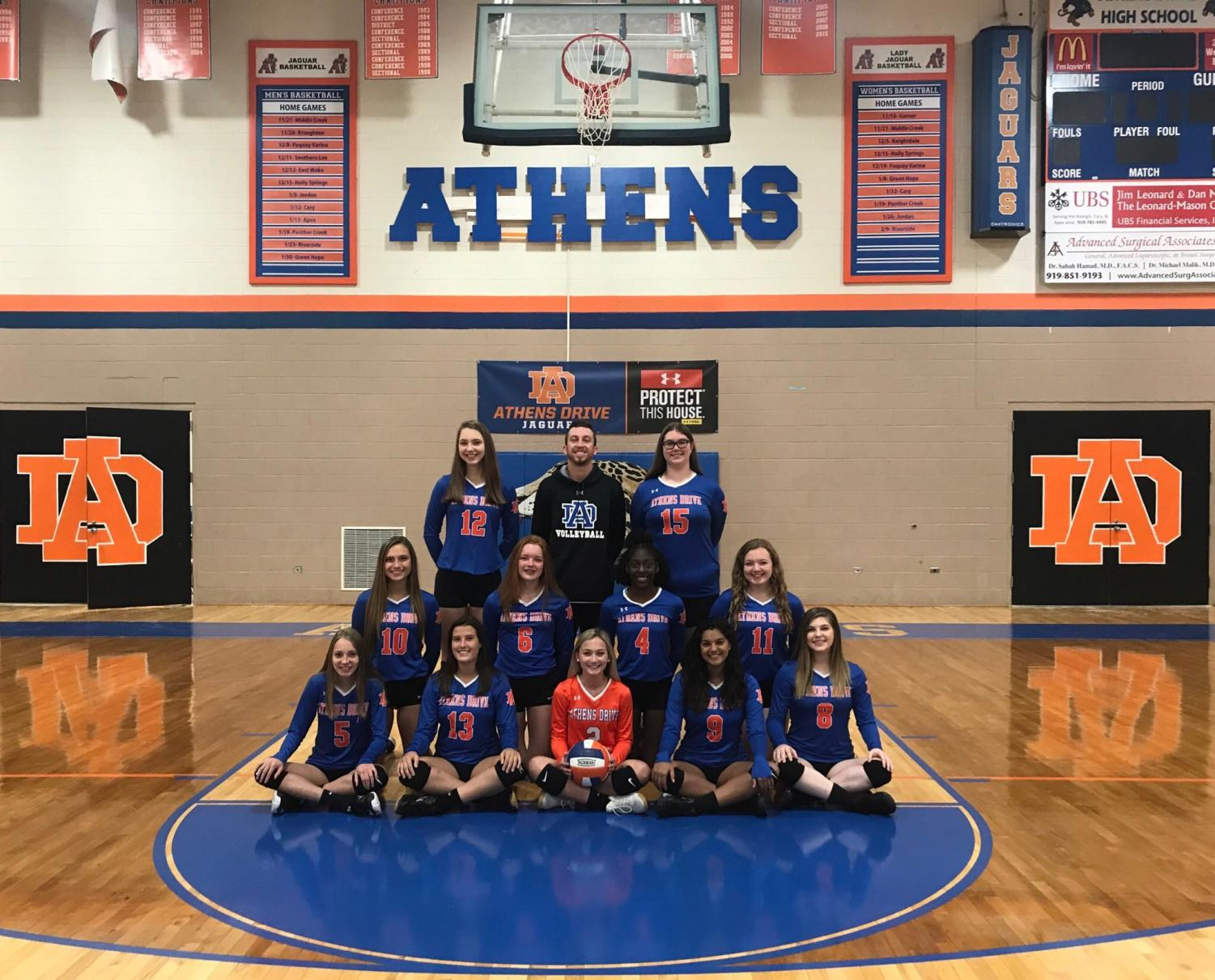 Athens Drive volleyball team poses for a team picture.