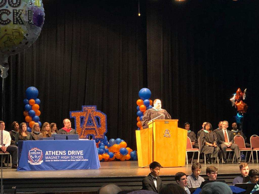Stephen Mares, Athens Drive Principal, speaks at the Early Graduation Ceremony Jan. 23, 2019.    Provided by Kritika Saraf