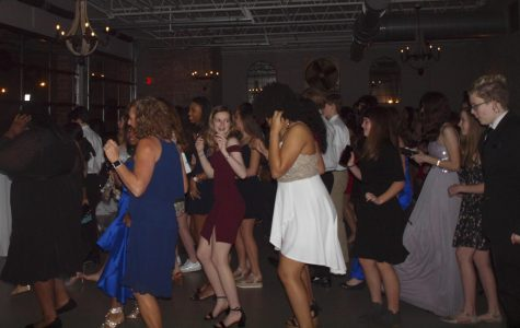 Students line dancing at the annual charity gala