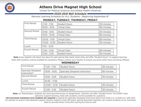 The current Athens Drive virtual learning schedule, including the screen break time on Wednesday.