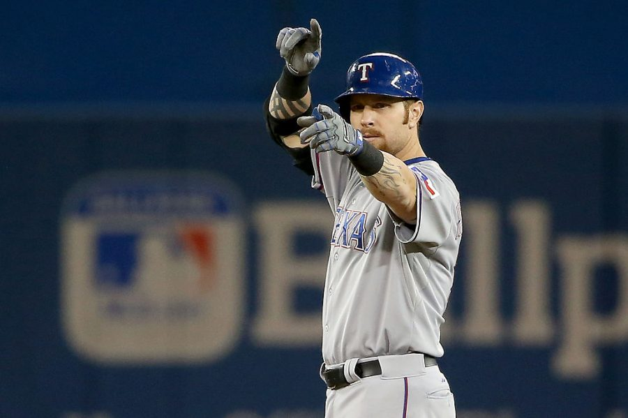 TORONTO, ON - OCTOBER 14:  Josh Hamilton #32 of the Texas Rangers reacts after doubling in the sixth inning against the Toronto Blue Jays in game five of the American League Division Series at Rogers Centre on October 14, 2015 in Toronto, Canada.  (Photo by Tom Szczerbowski/Getty Images)