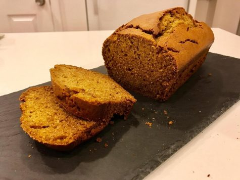 Holiday pumpkin bread out of the oven.