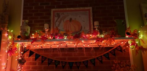 Halloween decorations line a family