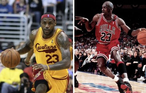 LeBron James (left) playing with the Cleveland Cavaliers and Michael Jordan (right) playing for the Chicago Bulls.