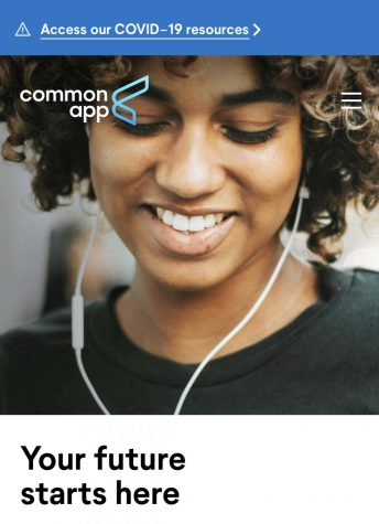 Common App home screen with a COVID-19 pop up
