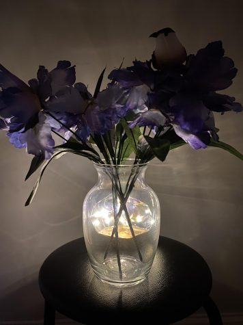 A vase of purple flowers with a lightened up background of fairy lights.