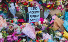 Flowers were laid out in silent protest of violence against women and in tribute to Sarah Everard.