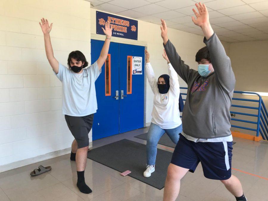 Students at Athens take a virtual yoga class via Google Meet.